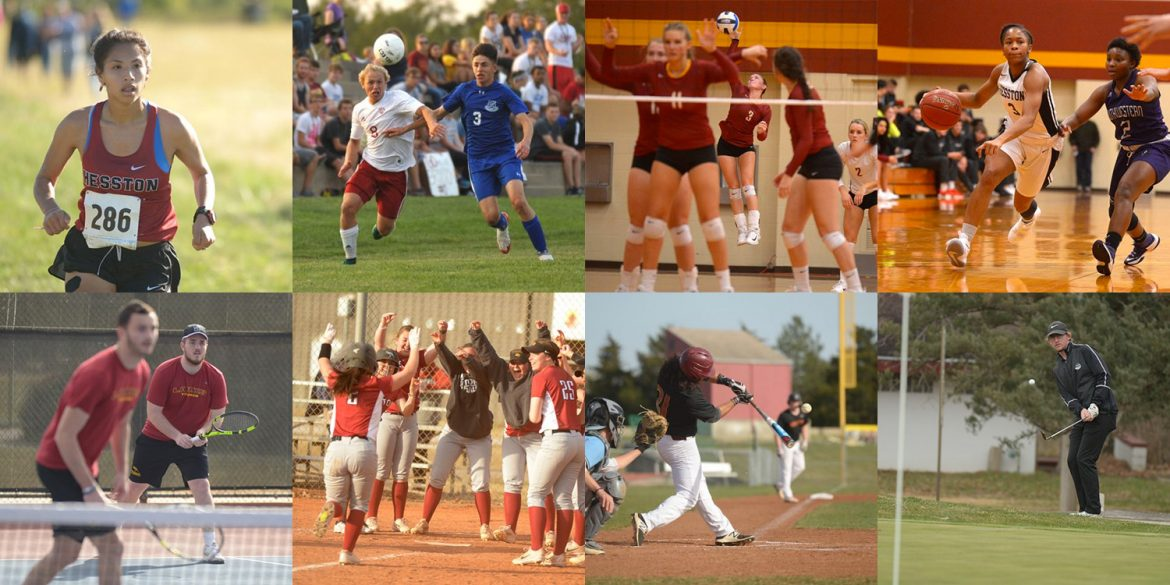 collage of Lark athletics action photos