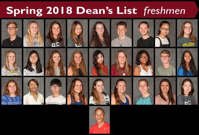 Spring 2018 Dean's List Freshman