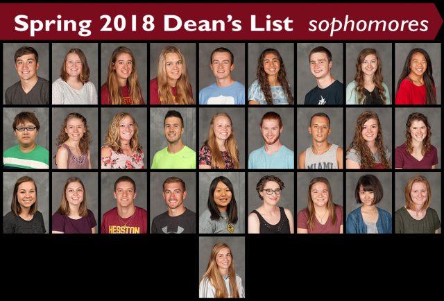 Spring 2018 Dean's List Sophomores
