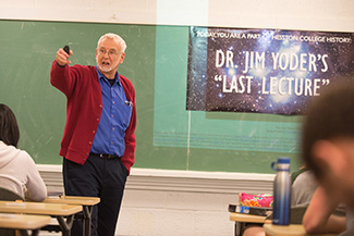 Jim Yoder delivers his final classroom lecture on April 30, 2018.