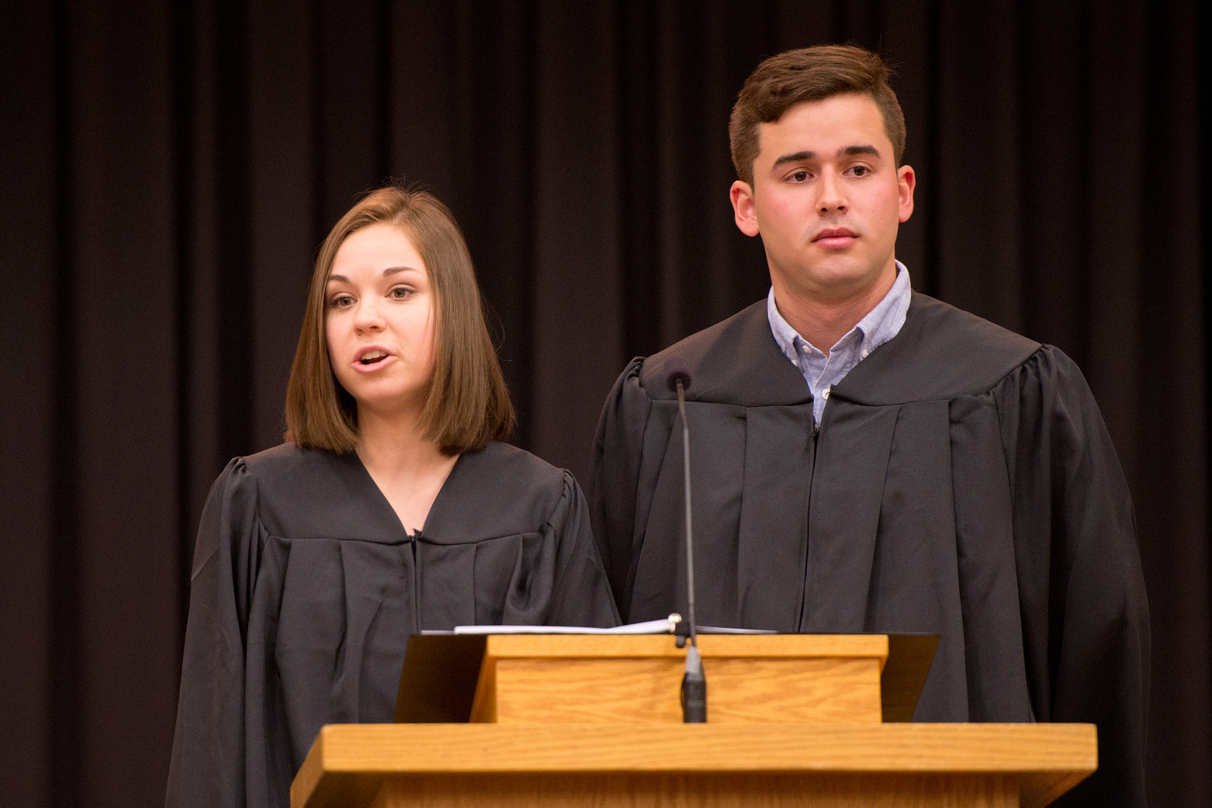 Mackenzie Miller (Lancaster, Pa.) and Jose Lezama Mendoza (Barquisimeto, Venezuela) share the student address at commencement exercises. Miller and Mendoza were nominated by faculty and staff and voted by their classmates as the graduate speakers to reflect on their Hesston Experience.