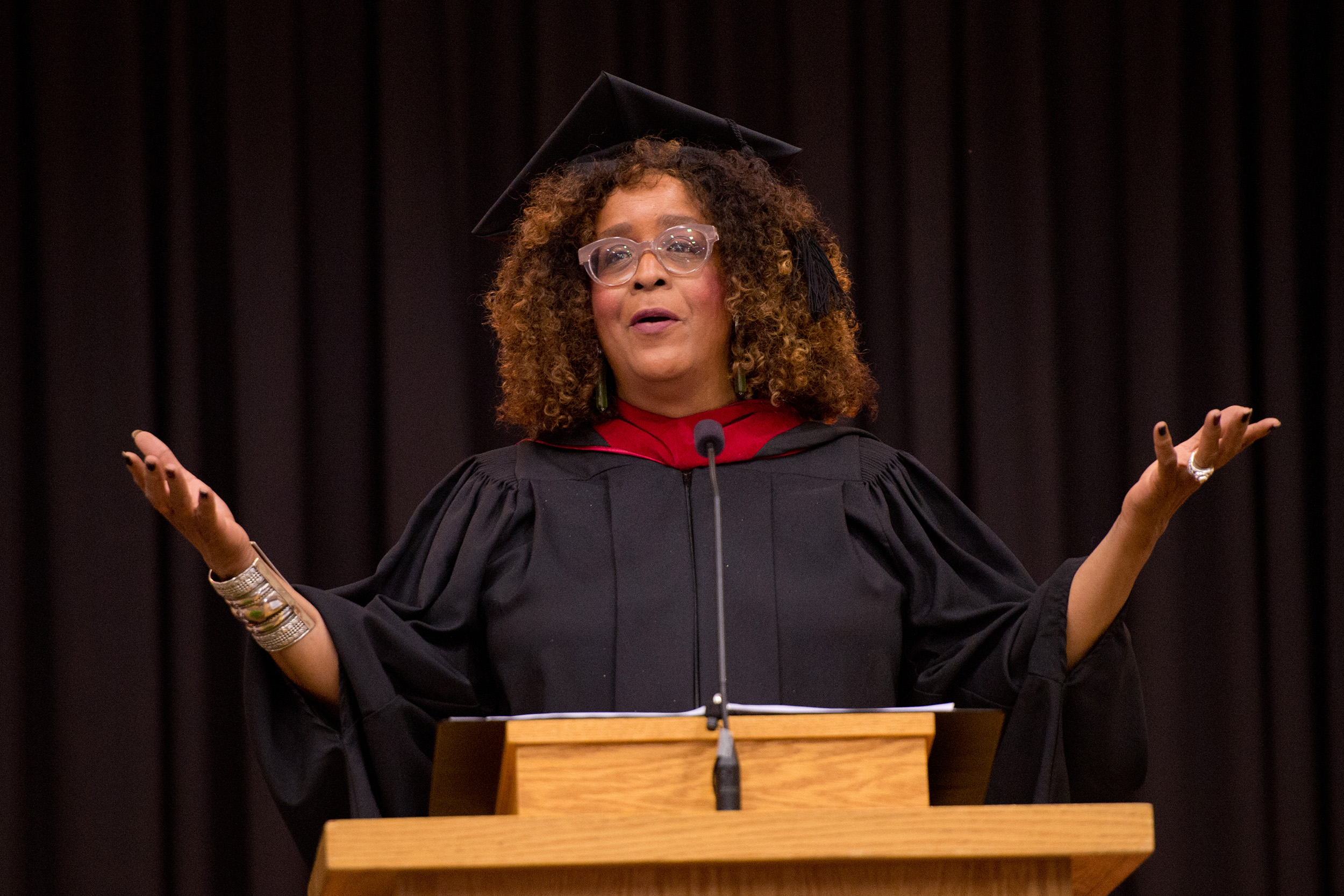 "Michelle Armster, M.Div., delivers the commencement address. ""So I say to you all today, choose love. Graduates, you are not the future, you are the now. So to love like God, you may need to look in different places. Because love speaks life, not death. Love speaks hope, not despair. Love speaks acceptance, not condemnation. Love speaks inclusion, not exclusion. Love is a choice. Love is a commitment. And we need you to choose love and to show us how to love again. Because the Good News, the Gospel, is about love for everyone."""