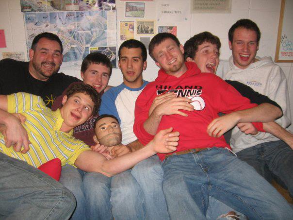Brockmueller with a group of RAs from the 2009-10 year: BJ Cobelntz, Levent Miller, RA mascot Samuel Bearded, Chad Newcomer, Ethan Mast, Matt Lehman Wiens and Donovan Krehbiel. Courtesy photo