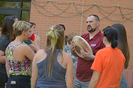 Brockmueller talks with a group of nursing students during his going-away celebration in May. Even though they too lived on campus, the Brockmuellers often served as mod parents – in 2017-18 to the nursing mod, comprised completely of students enrolled in the nursing program.