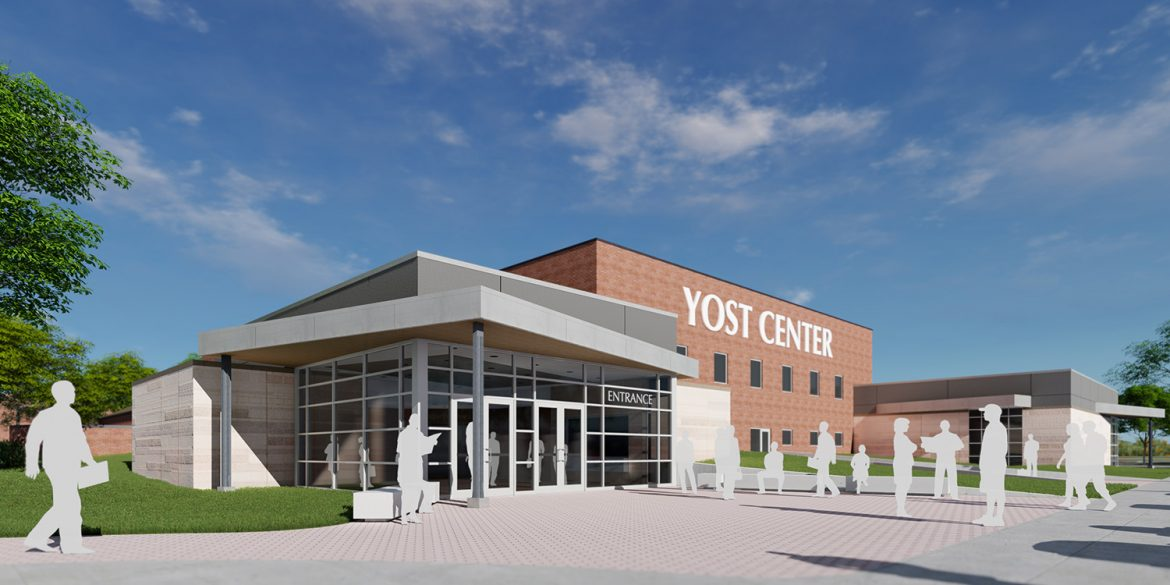architect's rendering of an updated Yost Center