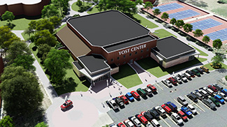 architect's rendering of updated Yost Center - aerial