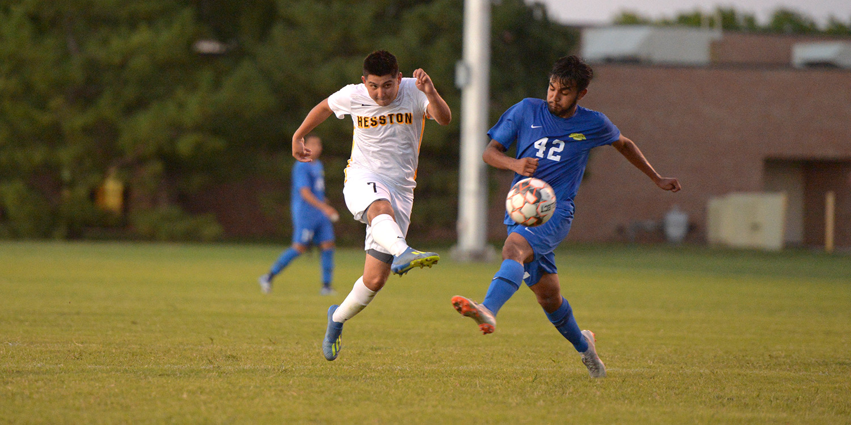 Hesston College men's soccer action photo - Sammy Rios