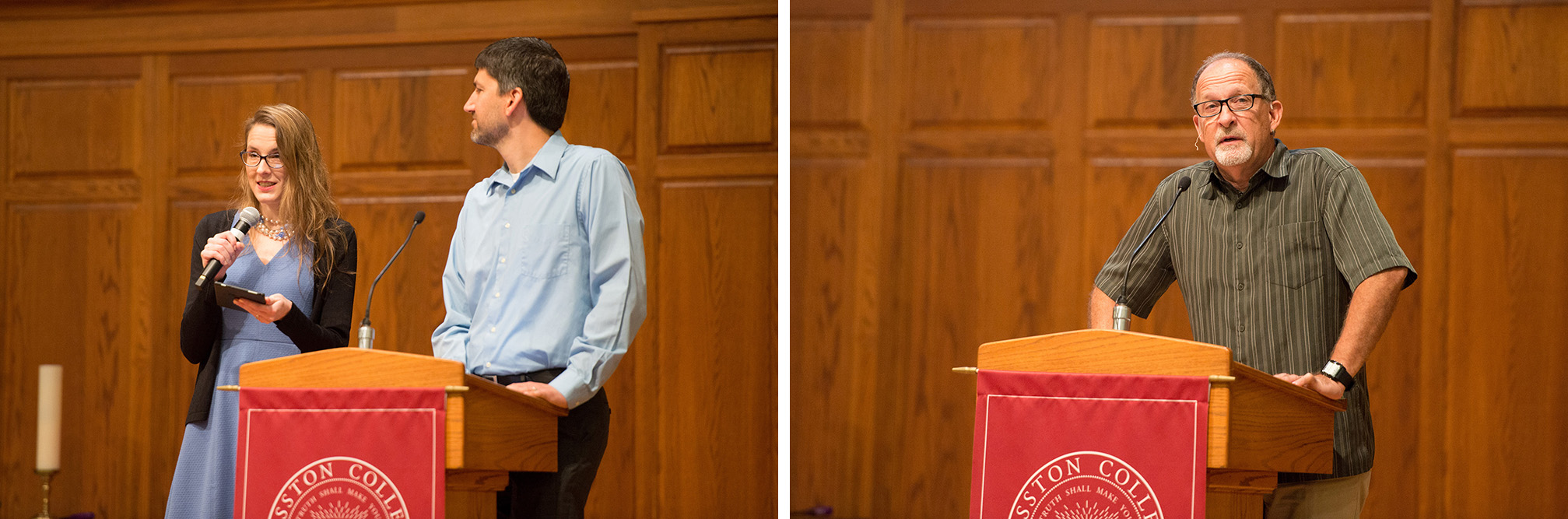 Erin Hershberger '10, faculty, and Brent Yoder '98, faculty, led worship and Mike Zehr '78 shared the morning message at the Homecoming Weekend worship service.