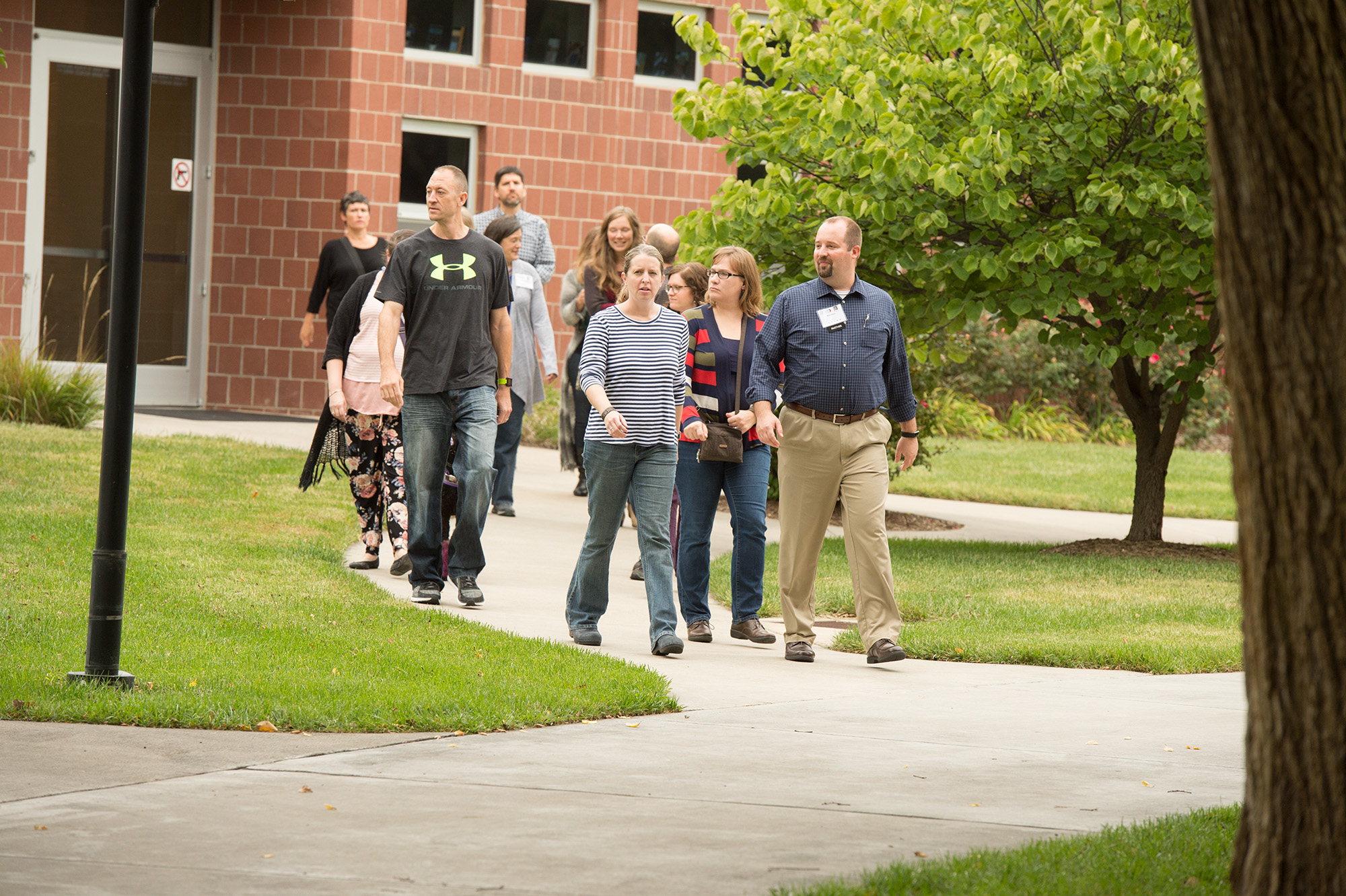 Members of the class of 1998 take a campus tour during their reunion.