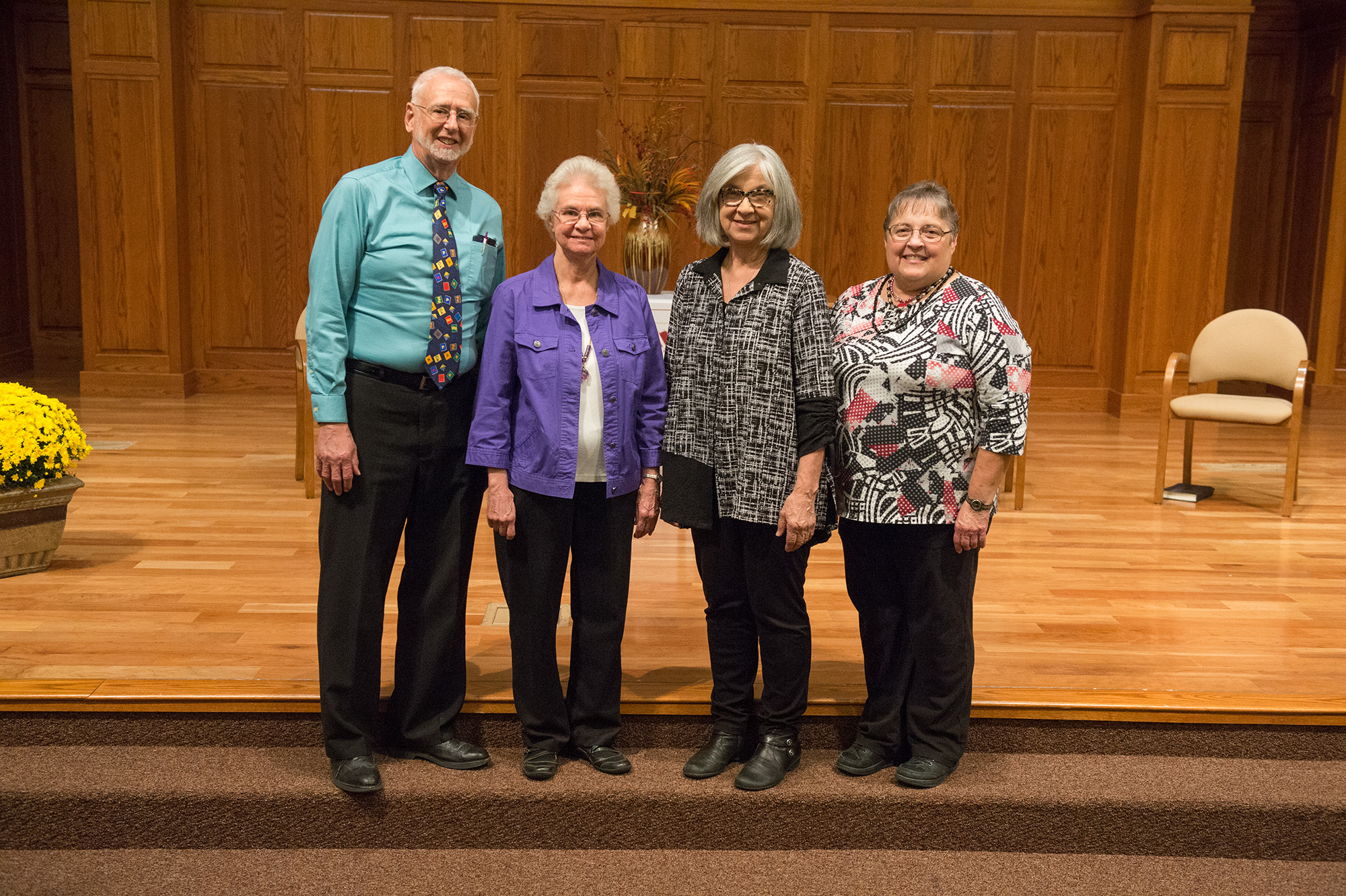 Hesston College's newest emeritus faculty members: Jim Yoder '62, Joyce Huber, Bonnie (Kauffman) '65 Sowers, Ruby (Chupp) '73 Graber and Dave Osborne Ac64, '66 (not pictured)