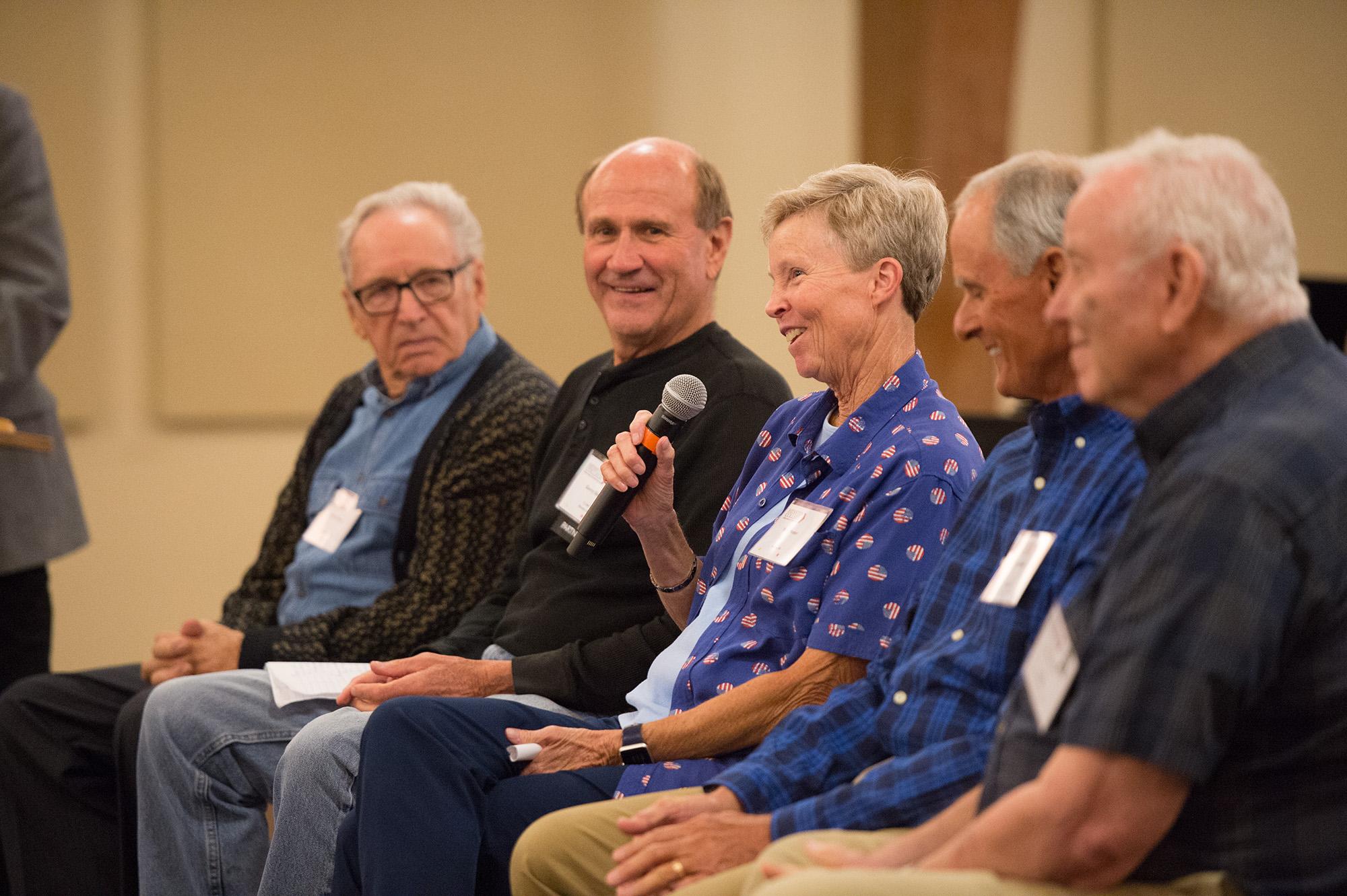 Former HC coaches Loren Reusser, Gerry Sieber, Vicki Mester, Art Mullet and Ken Hartzler share reflections on Lark athletics at the Golden Gables luncheon.