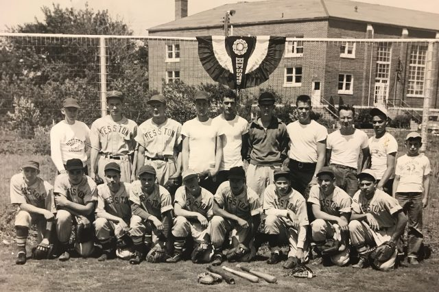 Intramural baseball team from the 1950s with Oswald (back row, far left) as coach