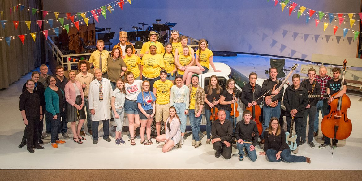 cast, crew and orchestra of Hesston College production of Hands on a Hardbody