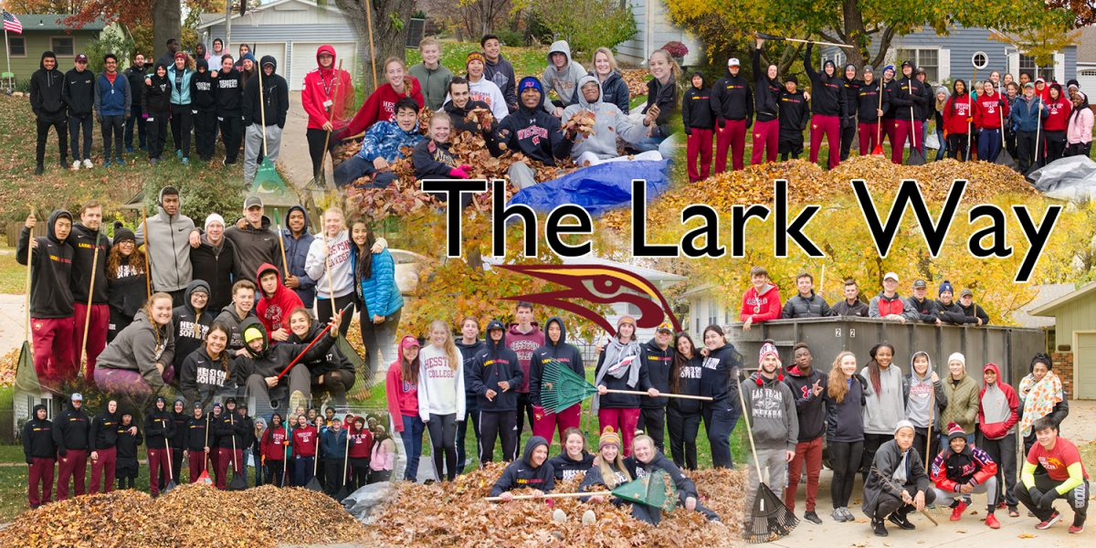 Student athletes and coaches rake leaves as a service project - The Lark Way