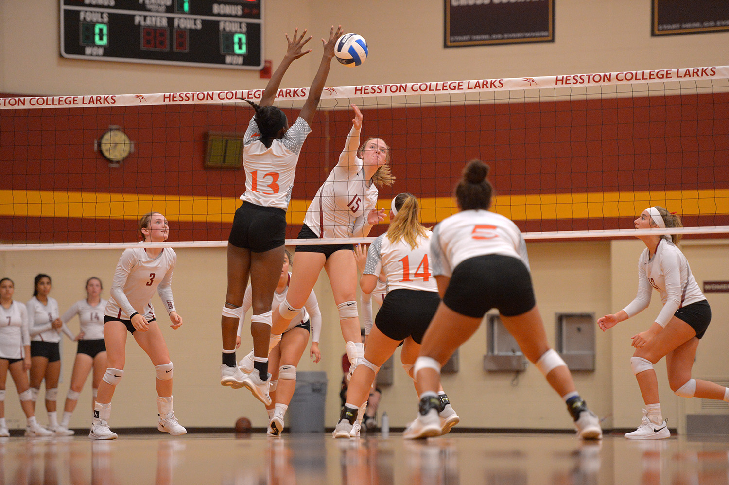 Hesston College volleyball action photo - Abby Busby