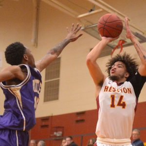 Hesston College men's basketball action photo - Sterling Hicks