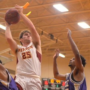 Hesston College men's basketball action photo - Grant Harding
