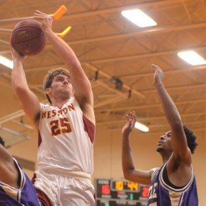 Hesston College men's basketball action photo - Grant Harding