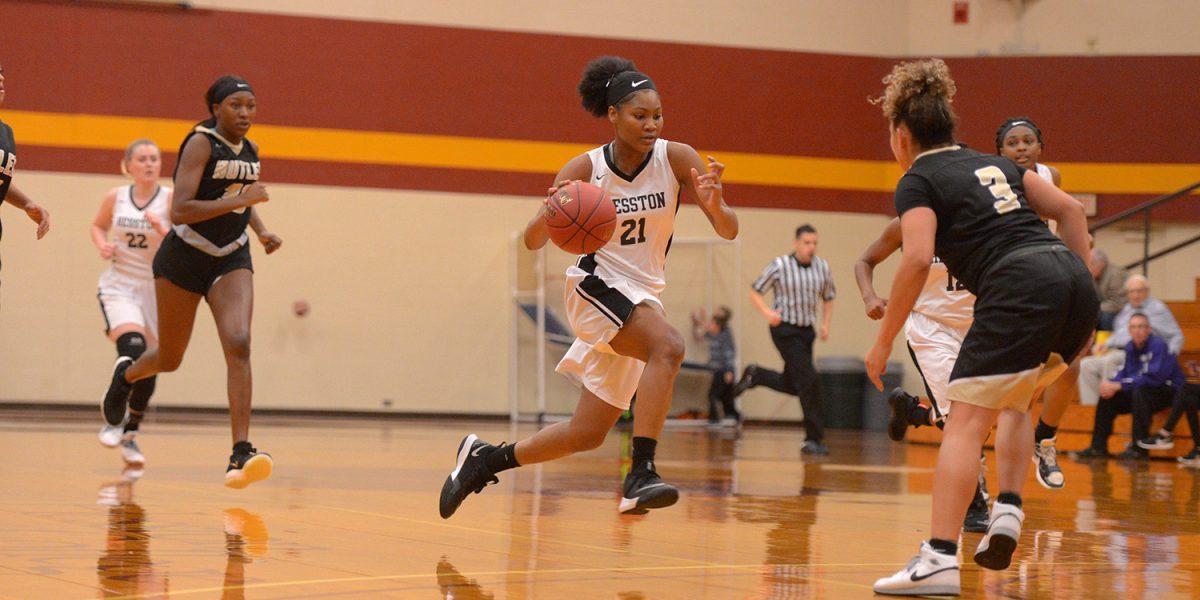 Hesston College women's basketball action photo - Millaya Bray