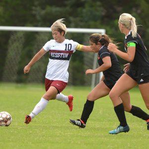 Hesston College women's soccer action photo - Miya Gonda
