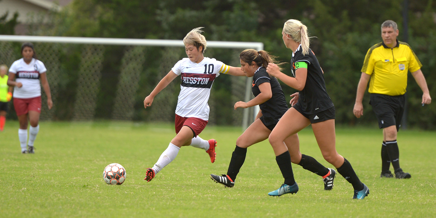 Hesston College women's soccer action photo - Miya Gonda