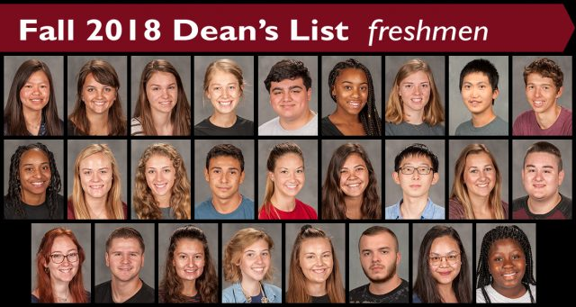 Fall 2018 Dean's List freshmen