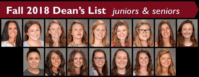 Fall 2018 Dean's List upperclassmen