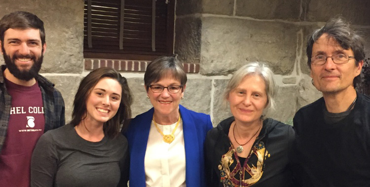 Katie Schmidt (second from left) with Governor Laura Kelly and the owners of Blue Morning Glory Studio (right). Also, pictured, Schmidt's husband (left).