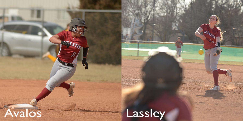 Hesston College softball action photos - Lexi Avalos and Kaylen Lassley