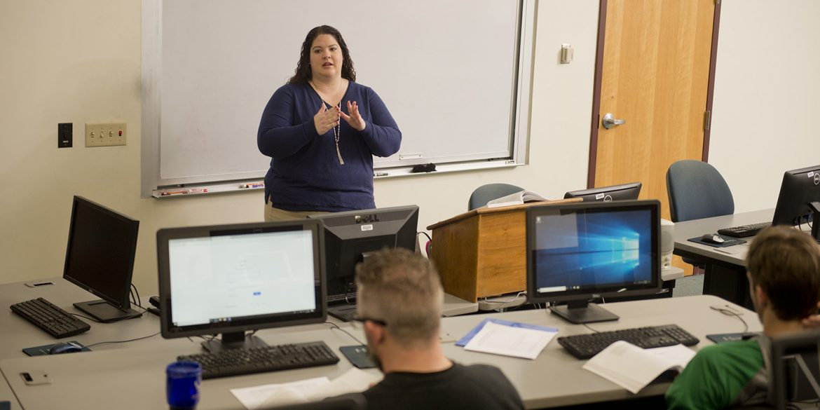 Aviation professor Amy Birdsell leads Aviation Safety class. The aviation program received approval to offer a four-year bachelor's degree program, which will begin in August 2019.
