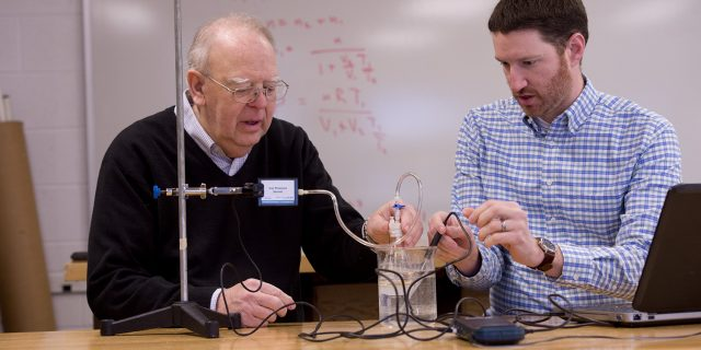 """Hesston College faculty emeritus, Nelson Kilmer, and physics professor, Joel Krehbiel, collaborated on two articles that were published in the January issue of """"The Physics Teacher"""" journal."""