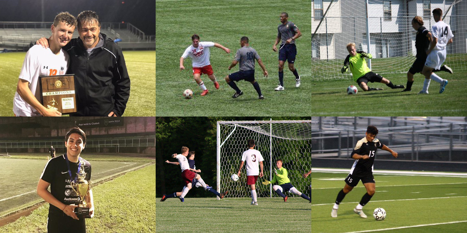 six men's soccer players who signed with the Larks
