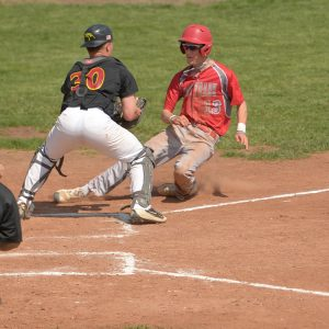 Hesston College baseball action photo