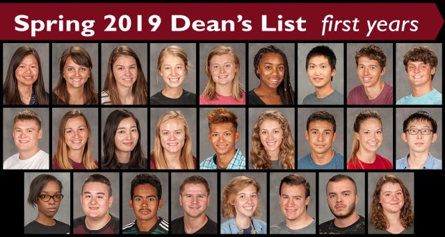 First year spring 2019 Dean's List