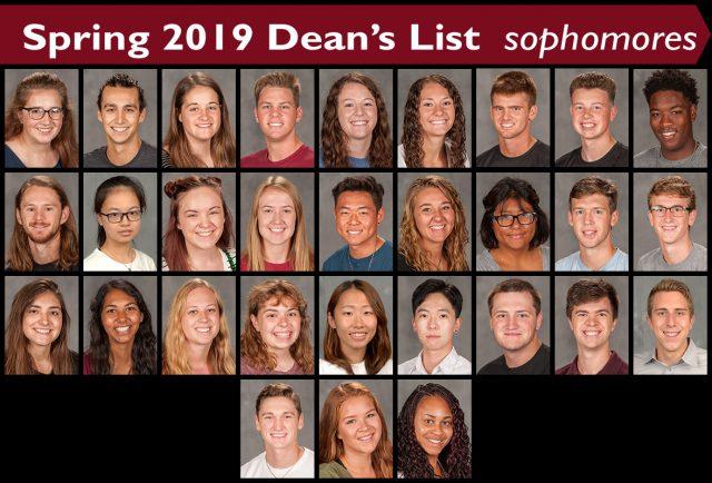 Spring 2019 Dean's List sophomores