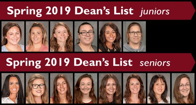 Spring 2019 Dean's List upperclassmen