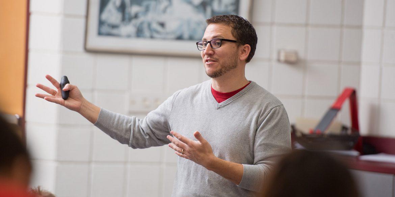 Hesston College Bible prof Nick Ladd teaching Biblical Literature