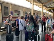 Boarding the train to Chiang Mai