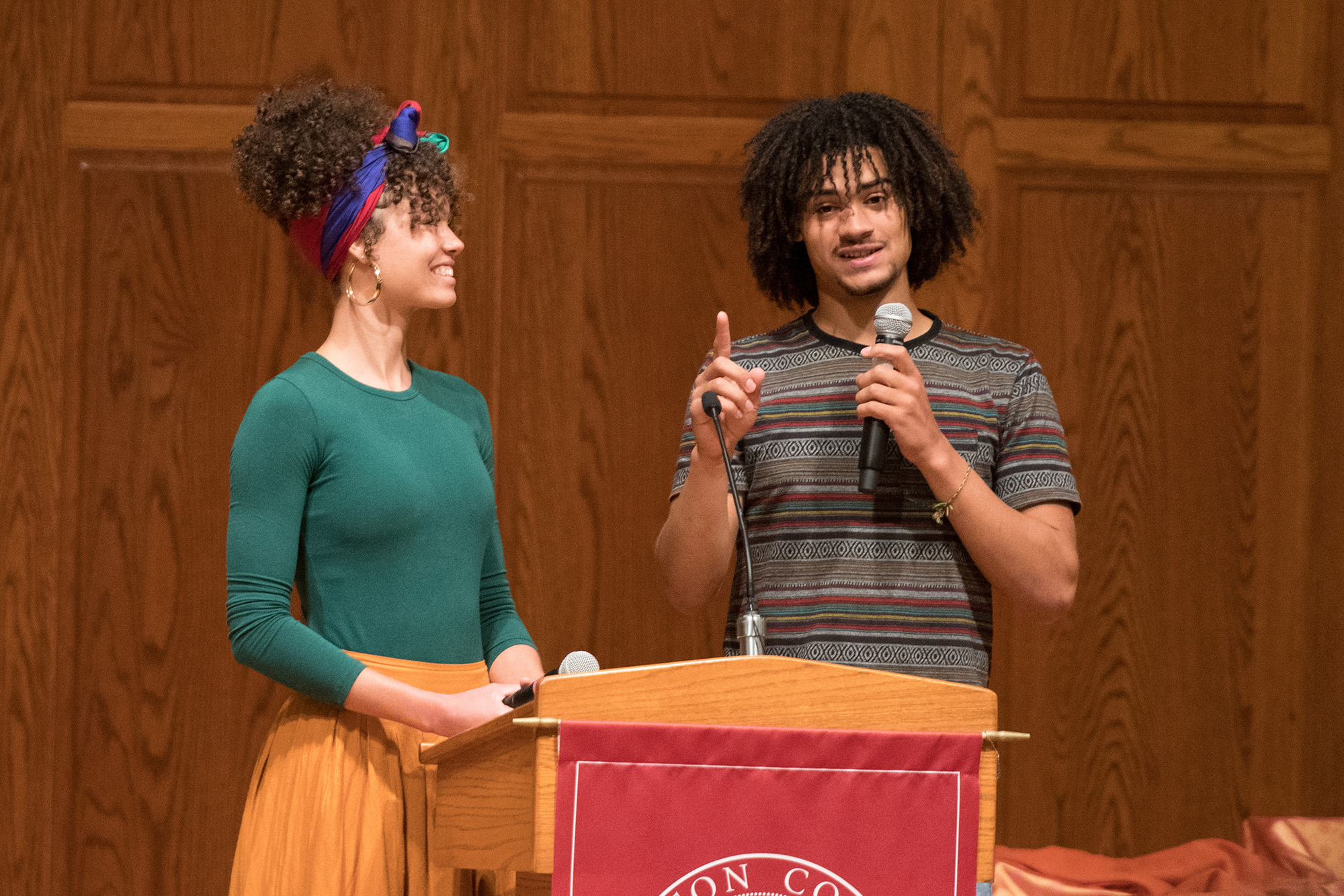 Siblings Makayla '15 and David '18 Ladwig speak at Homecoming 2019's Friday Forum.