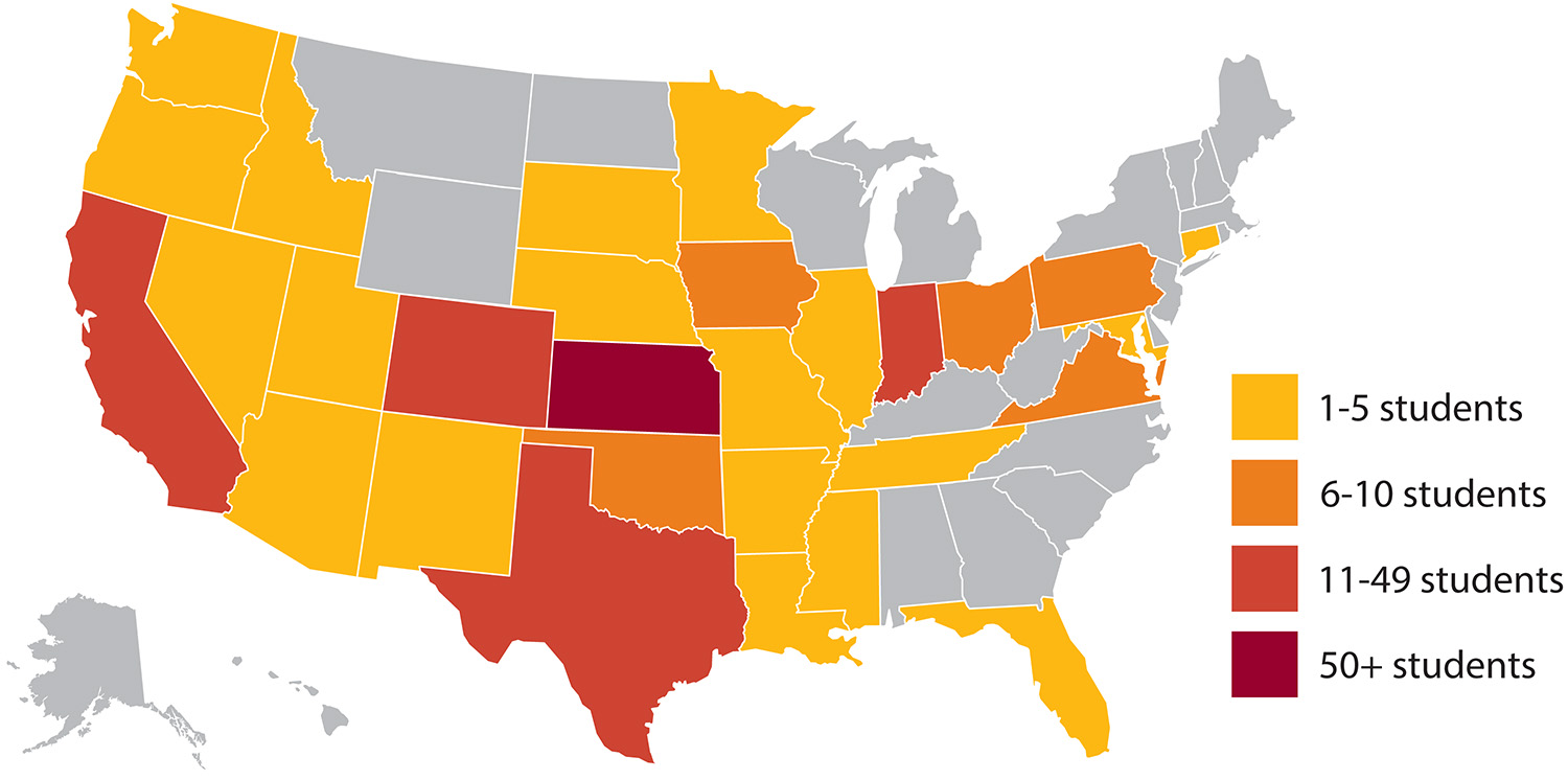 2019 Hesston College enrollment by U.S. state