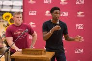 Grant Walker '15 and Malcom Mann '15, members of the Lark men's basketball team that went to the national tournament in 2015, share reflections on the importance of the Yost Center renovations and additions at the dedication ceremony.