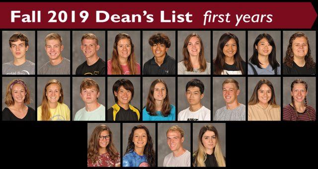 Fall 2019 Dean's List - first-year