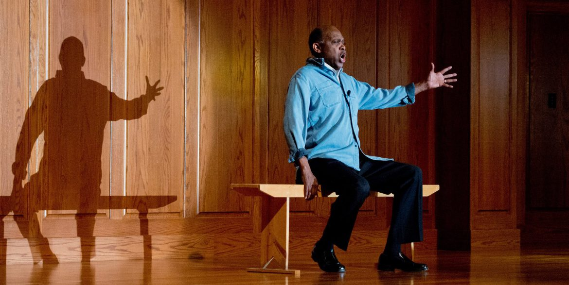 """Tony Brown portrays civil rights activist Paul Robeson in """"I Go On Singing: Paul Robeson's Life in Word and Song."""""""