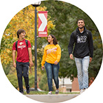 Hesston College students walking on campus