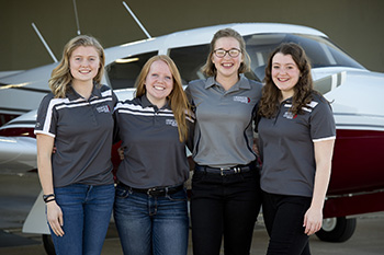 women enrolled in Hesston College's aviation program