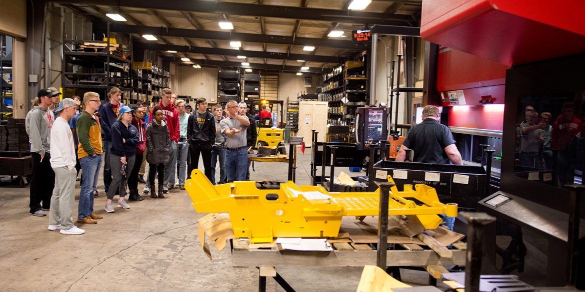 Management students visit BMG manufacturing in Hesston.