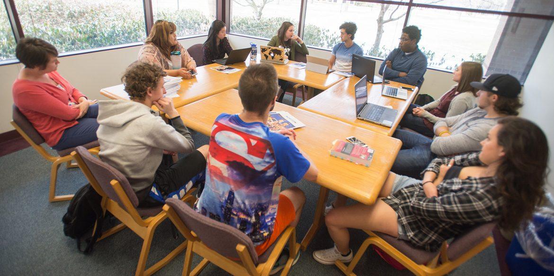 Hesston College Horizon staff meeting