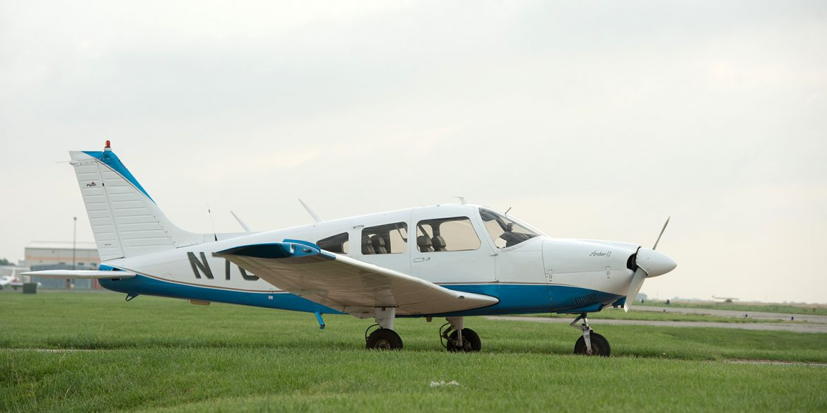 a Piper Archer II from the Hesston College fleet