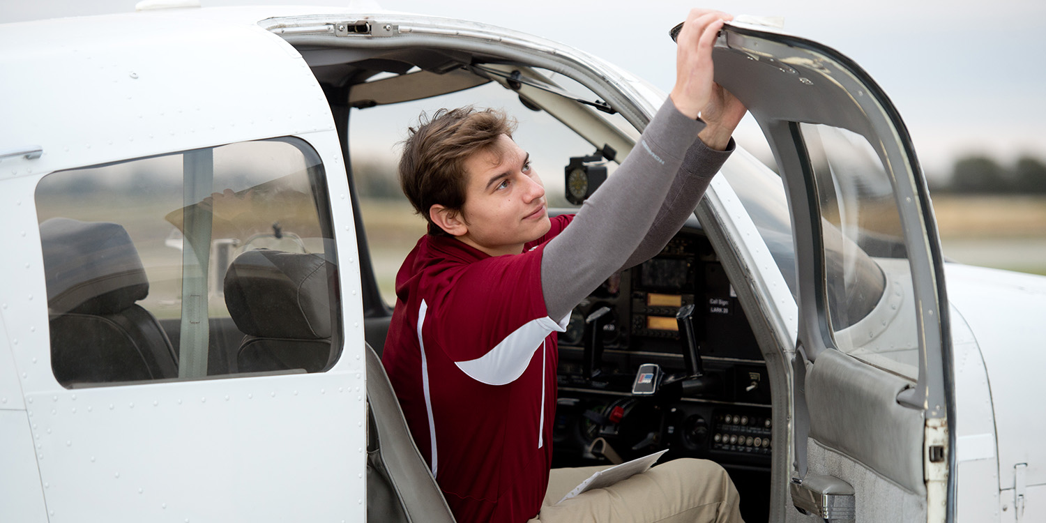 Jacob Mullins runs through the preflight checklist