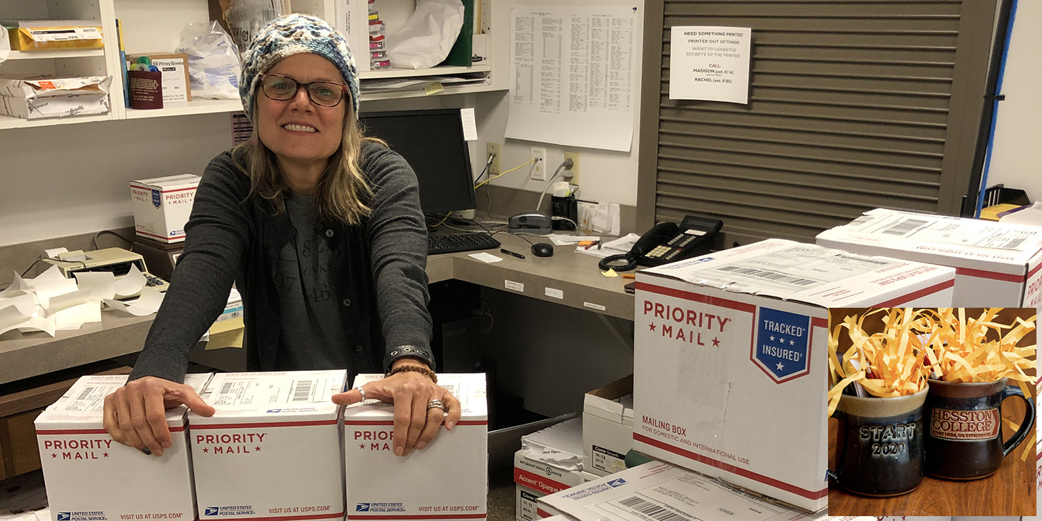 Dining Services Office Manager Lori Dreier assists the alumni office to pack and mail Class of 2020 mugs (inset) to graduates.